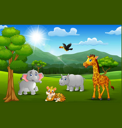 cartoon wild animal in the jungle with a mountain vector image