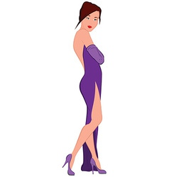 Cartoon young woman in purple evening dress with vector image