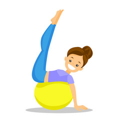 Caucasian white woman exercising with fit ball vector
