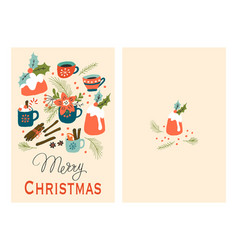 christmas cards with pudding and hot drink vector image