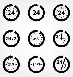Clock icon collection organization work schedule vector