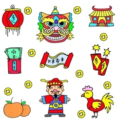 Collection stock of Chinese theme doodles vector image
