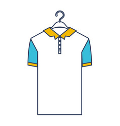 color blue and yellow sections silhouette of polo vector image
