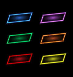 colored neon banners on a black background vector image