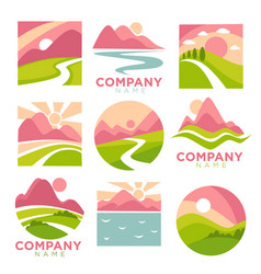 Company promotional logotypes set with landscapes vector