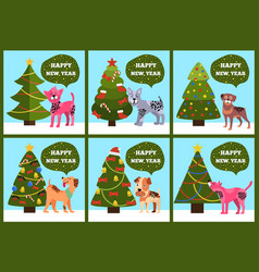 Congrats cards on green merry wish puppy tree set vector