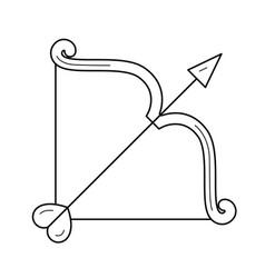 Cupid bow with arrow line icon vector
