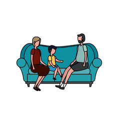 Cute grandparents couple with grandson in sofa vector