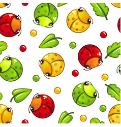 Cute seamless pattern with funny bugs and leaves vector