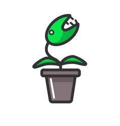 dangerous plant with sharp teeth in clay pot vector image