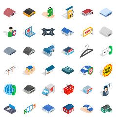 Deposit account icons set isometric style vector