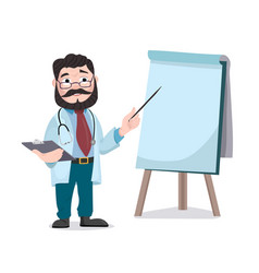 doctor with clipboard giving medical presentation vector image