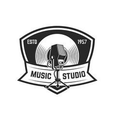 emblem template with retro microphone design vector image