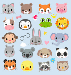 faces cute cartoon animals on a white background vector image