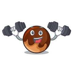 fitness chocolate donut character cartoon vector image