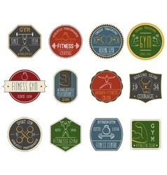 Fitness vintage labels set vector image vector image