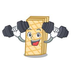 Fitness waffle character cartoon style vector