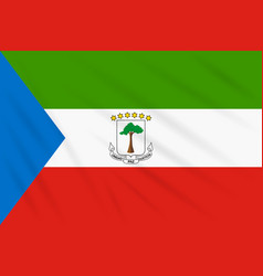 Flag equatorial guinea swaying in wind vector