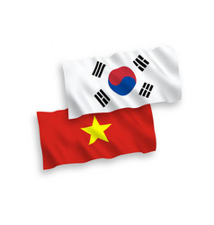 Flags south korea and vietnam on a white vector