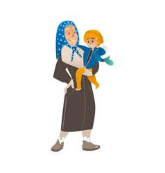 Flat cartoon old woman holding boy kid vector