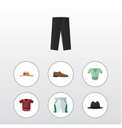 Flat clothes set of t-shirt male footware pants vector