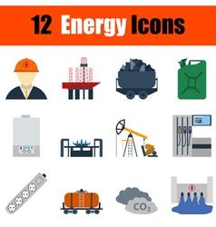 Flat design energy icon set vector