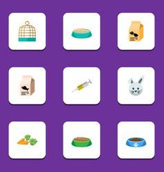 Flat icon animal set of rabbit meal feeding fish vector