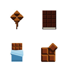 flat icon chocolate set of dessert cocoa bitter vector image