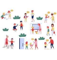 Flat set of polite children in different vector