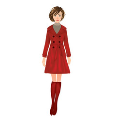 Girl in red coat vector