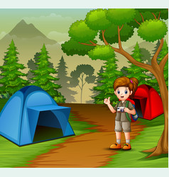 Girl in scout uniform exploring forest vector