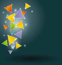 Glowing triangles on a black background vector image