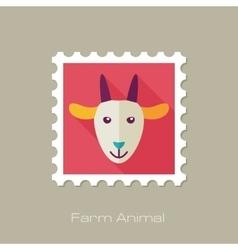 Goat flat stamp Animal head vector image