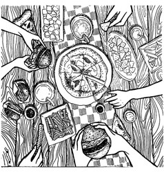 hand drawn wood table with food and dishes vector image