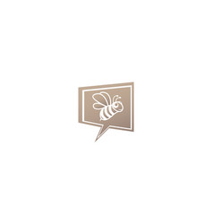 happy bee open wings and fly for logo design in vector image