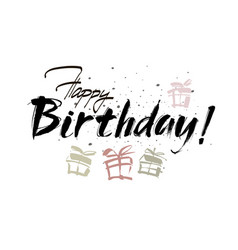 Happy birthday inscription greeting card with vector