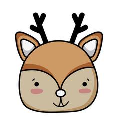 Happy deer head wild animal vector