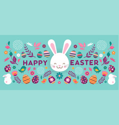 happy easter banner with flowers eggs and vector image