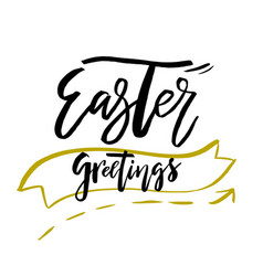 Happy easter greetings card with calligraphy text vector
