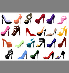 high heels set womens shoes flat vector image