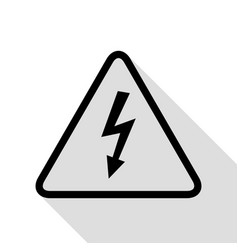 high voltage danger sign black icon with flat vector image