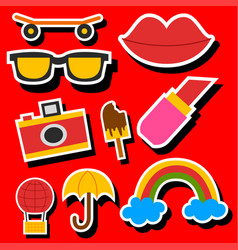 Hipster patches elements like lips ok sign and vector