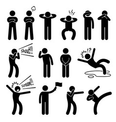 human action poses postures stick figure vector image