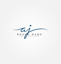 Initial letter aj logo - handwritten signature vector