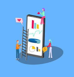 isometric icon smartphone and tiny people vector image