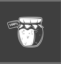 Jar honey isolated on black background vector