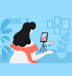 Long distance relationship online dating vector