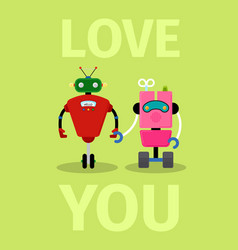 love you card with robots vector image