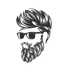 mens hairstyles and hirecut with beard mustache vector image