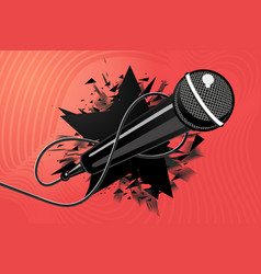 microphone with black star mic music vector image